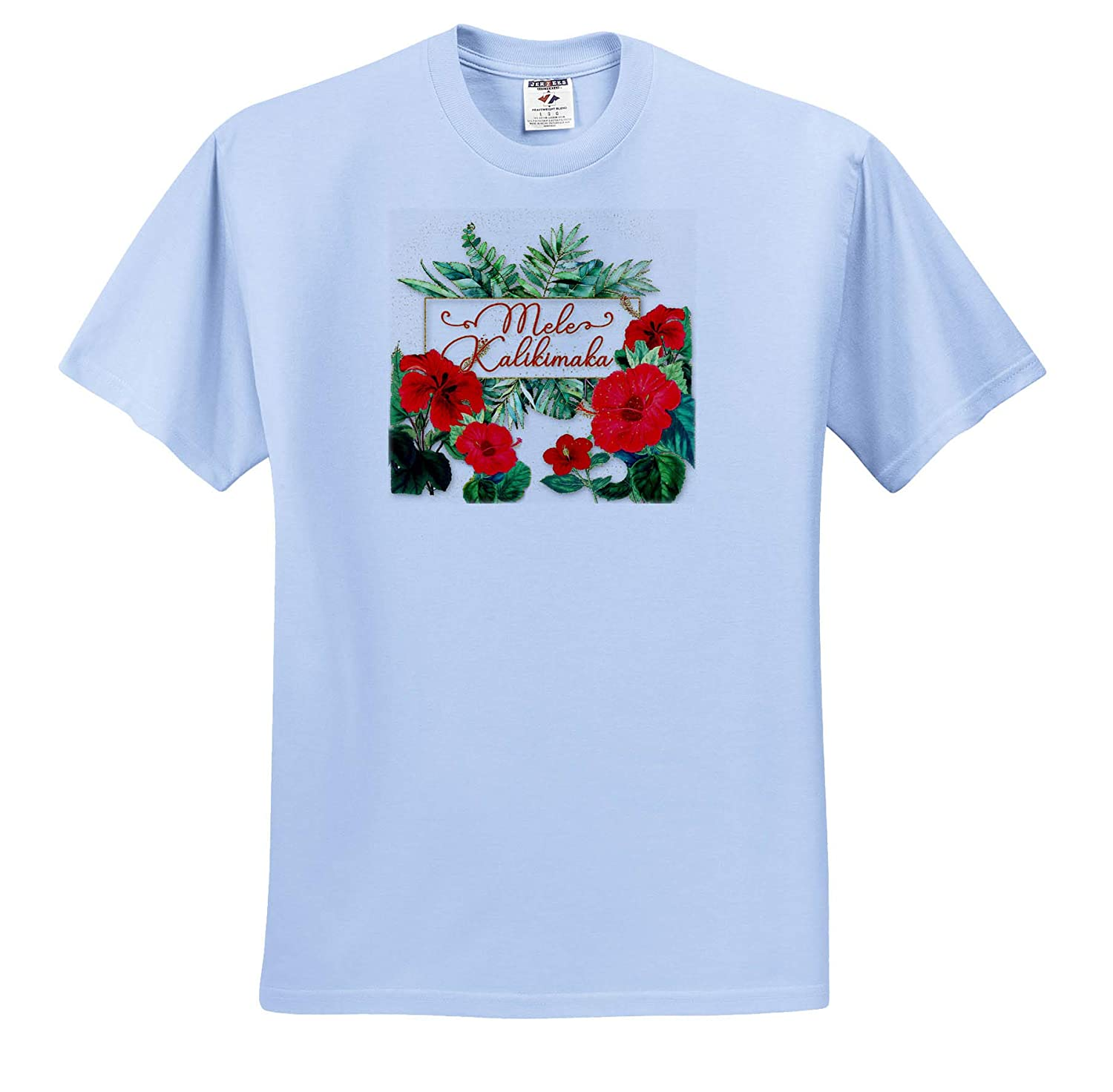 Mele Kalikimaka Hawaiian Christmas Typography Red Hibiscus Flowers T-Shirts 3dRose Doreen Erhardt Christmas Collection