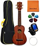 Kala Ukulele KA-15S Mahogany Soprano Ukulele Bundle with JULIET MUSIC Gig Bag, Tuner, String, Picks and Polishing Cloth