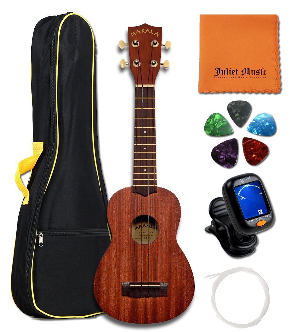 Kala Ukulele KA-15S Mahogany Soprano Ukulele Bundle with JULIET MUSIC Gig Bag, Tuner, String, Picks and Polishing Cloth