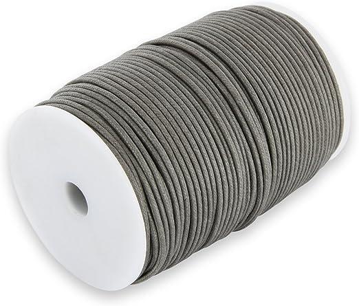 Auroris 100 m Rollo Cinta de algodón, Redonda 2 mm, Gris: Amazon ...