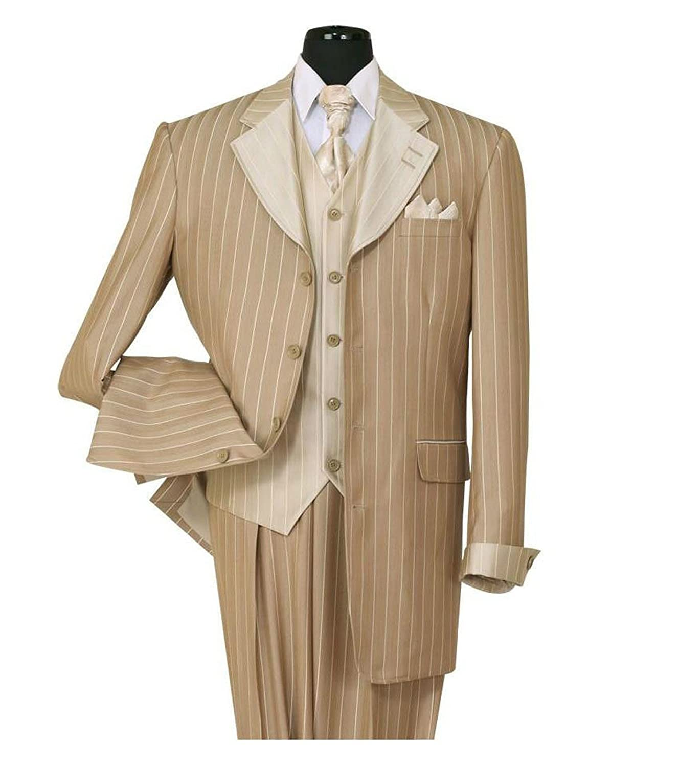 1940s Men's Suit History and Styling Tips Milano Moda Pinestripe Fashion Suit with Contrast Collar Cuffs & Vest  4 Colors  AT vintagedancer.com