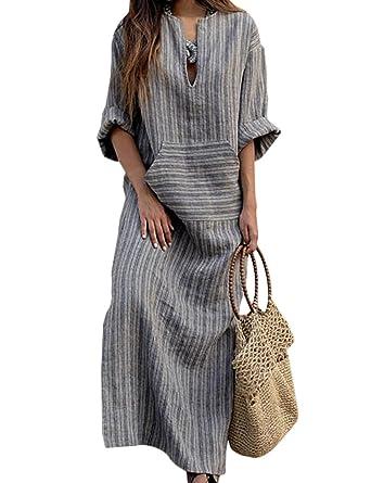 2708f5306a2 Naliha Women Loose Dresses Longsleeve Casual Tunic Maxi Cotton Linen Dress  Grey S