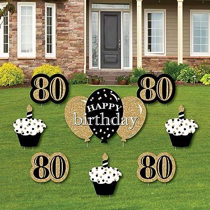 Amazon.com: Adulto 80 cumpleaños – oro – cartel de patio y ...