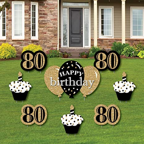 Amazon Com Adult 80th Birthday Gold Yard Sign Outdoor Lawn