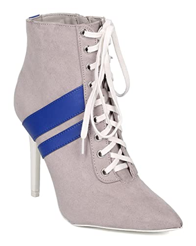 Faux Suede Sporty Stiletto Bootie - Dressy Casual Date Night - Lace Up Heel Bootie - GF11 by