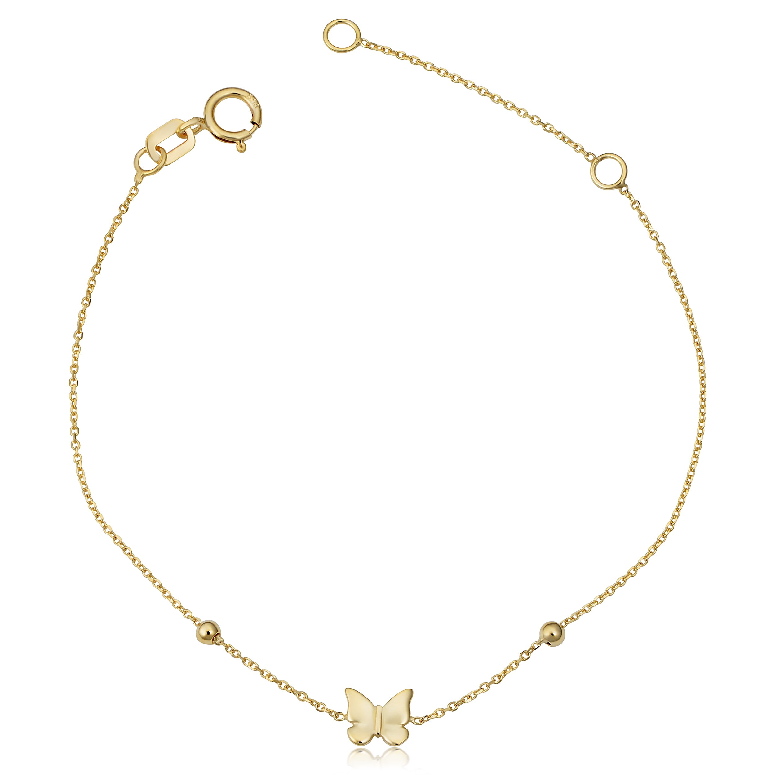 Children's 14k Yellow Gold Butterfly Bead Adjustable Length Bracelet (adjust to 5.5'' or 6.5'')
