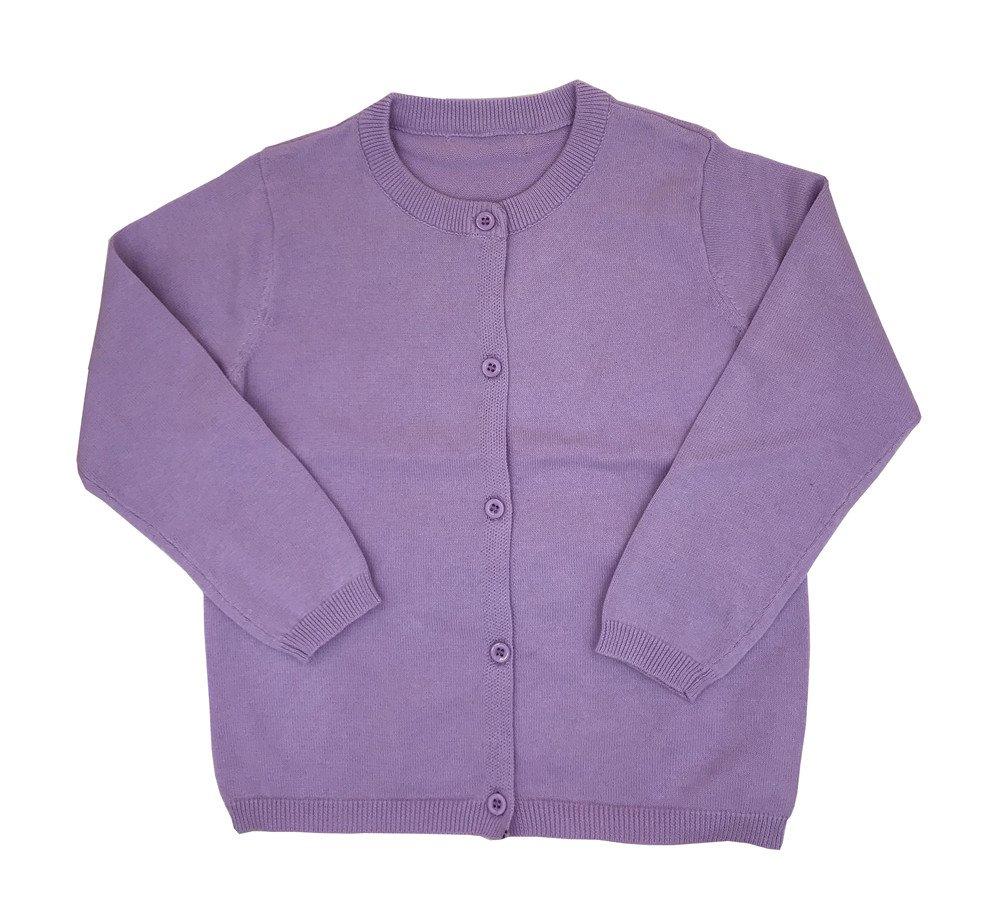 Always Pretty Little Girls' Uniform Cardigan Sweater Knit Solid Long Sleeves Coats Outwear Lavender 4-5t