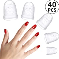 40 Pieces Guitar Fingertip Protectors, Silicone Guitar Finger Guards, Fingertip Protection Covers Caps for Stringed Instruments Like Guitar Ukulele Bass, Sewing and Embroidery (5 Sizes, Transparent)