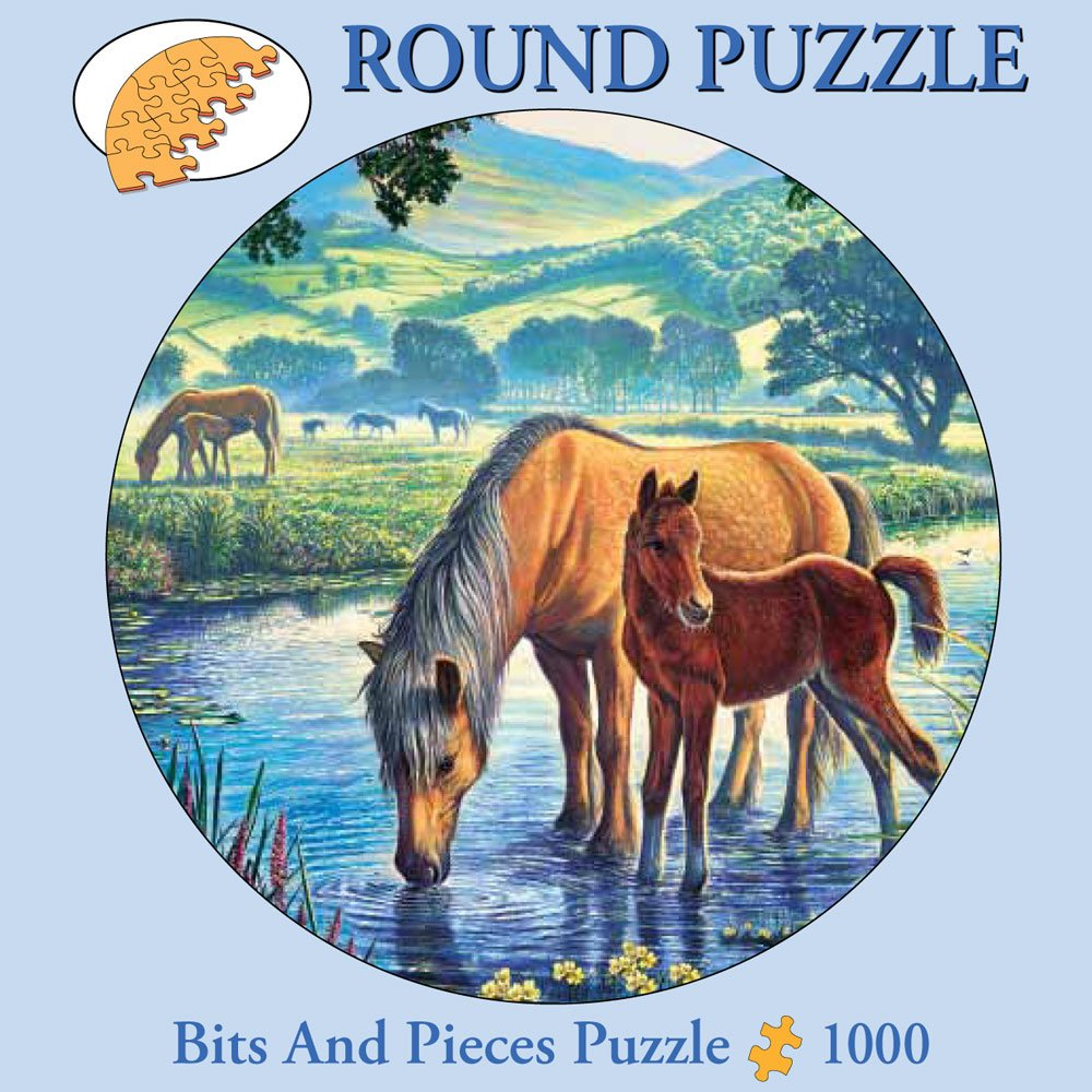 Bits and Pieces - 300 Piece Round Puzzle - Fell Pony, Horses - by Artist Steve Crisp - 300 pc Jigsaw