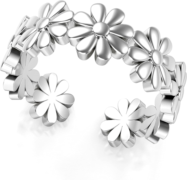 Sterling silver 925 FLOWER TOE RING ~ réglable ~ Véritable Argent Sterling