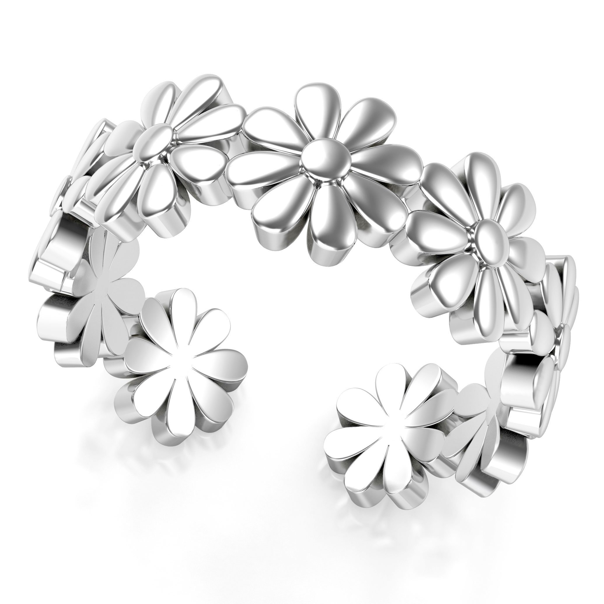Metal Factory Sterling Silver Daisy Flower Adjustable Toe Band Ring