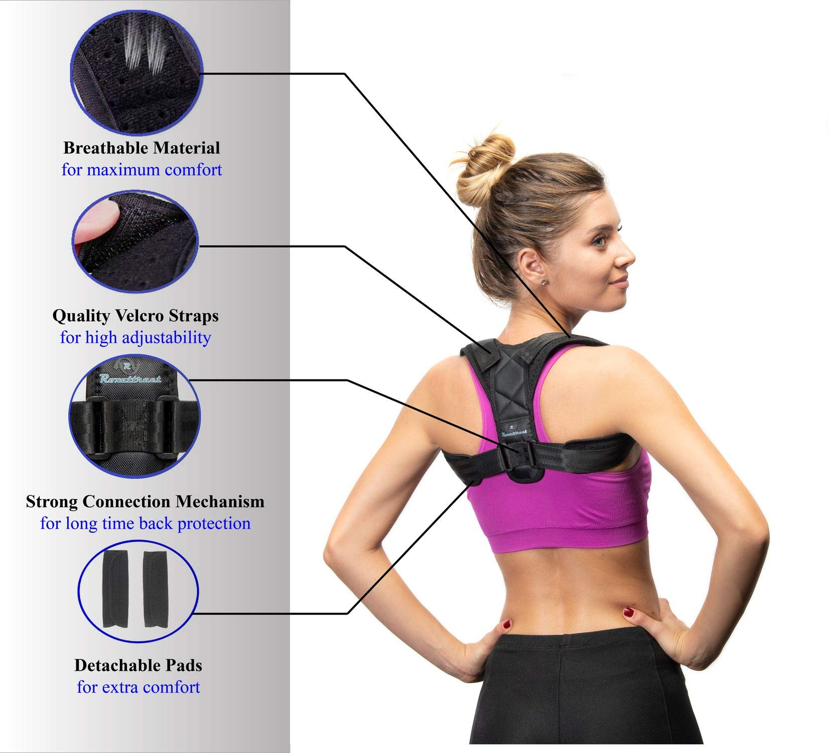 Back Posture Corrector for Women and Men-Breathable and Comfortable Clavicle Brace for Improving Posture-Adjustable and Discreet Clavicle Support Brace for Slouching & Hunching by Roxattract (Image #3)