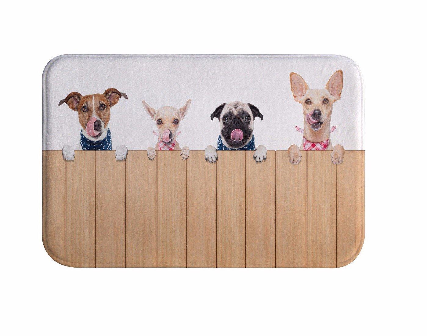 A.Monamour Cute Dog Pets Animal Lover Theme Print Soft Flannel Non-Slip Bathroom Shower Bath Rugs Mats Machine Washable 40x60cm / 16''x24''