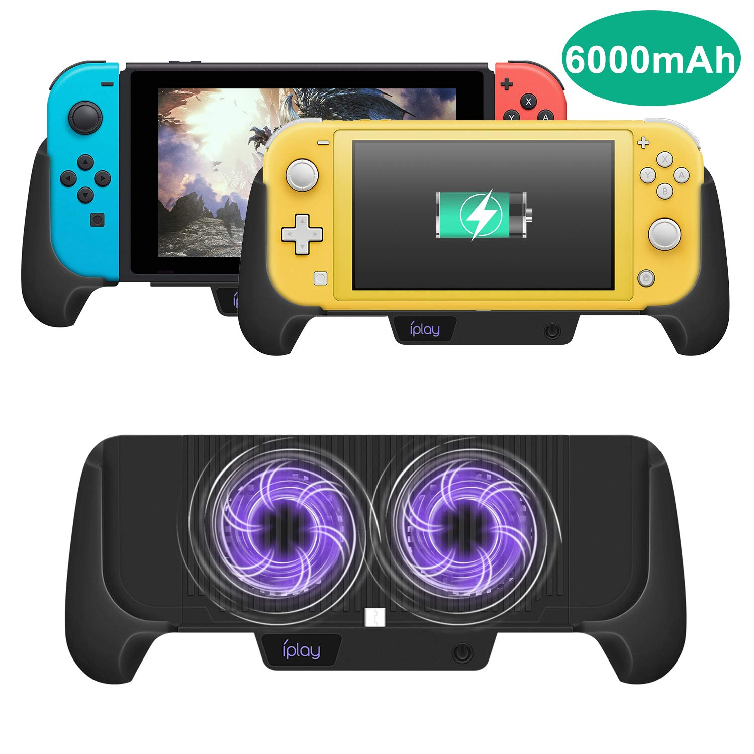 Cooling Charging Grip for Nintendo Switch/Switch Lite, Multifunctional 4 in 1 Gaming Grip with Charger Stand Cooling Fan Bracket Design for Nintendo Switch Lite and Nintendo Switch