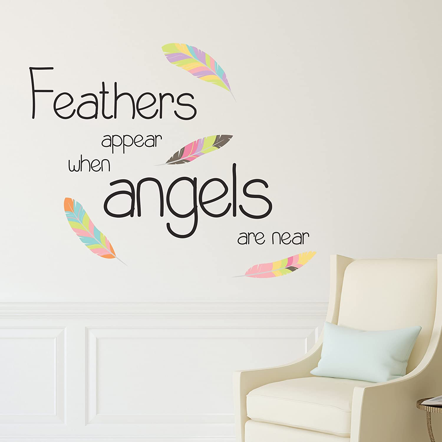 ANGELS GATHER IN THE NIGHT WALL STICKER QUOTE KIDS NURSERY WALL ART DECAL X223