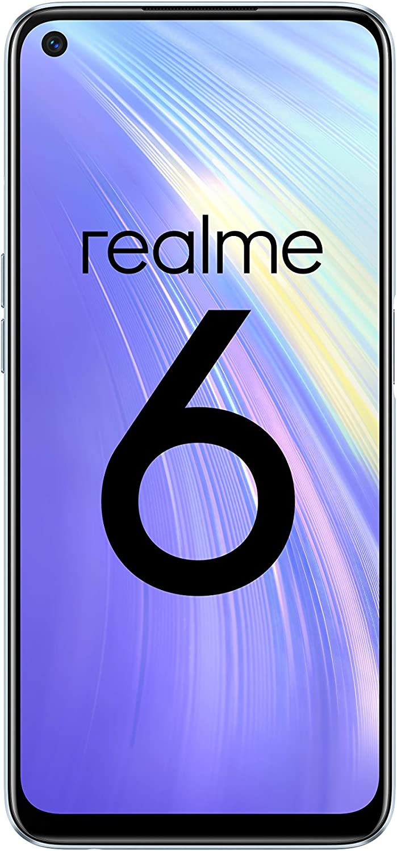"realme 6 – Smartphone de 6.5"", 8 GB RAM + 128 GB ROM, Procesador OctaCore, Cuádruple Cámara AI 64MP, Dual Sim, Color Comet White"