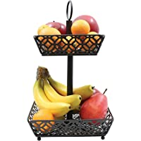 Tablecraft Farmhouse Collection Two-Tiered Fruit Basket, Metallic