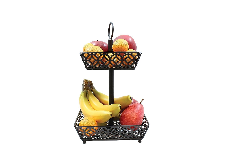 Tablecraft Farmhouse Collection Two-Tiered Fruit Basket, Metallic HFB2BK