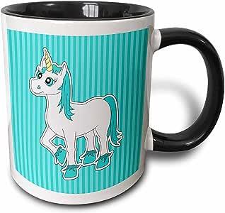 3dRose 175387_4 - Taza de desayuno, diseño de unicornio, color azul y blanco, 28 ml, multicolor