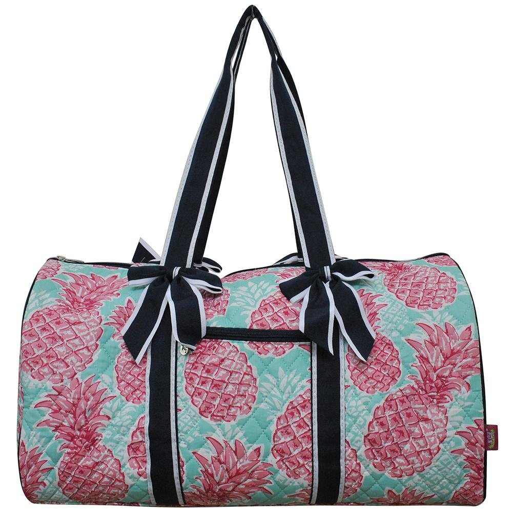 NGIL Quilted Weekend Travel Overnight 20'' Large Duffle Bag 2018 Spring Collection (Summer Pineapple Navy)