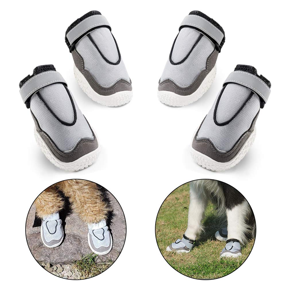 LuckIn Breathable Mesh Dog shoes Medium and Large Dog Boots Paw Protector with Anti-Slip Sole for Hot Pavement, 4 Pcs