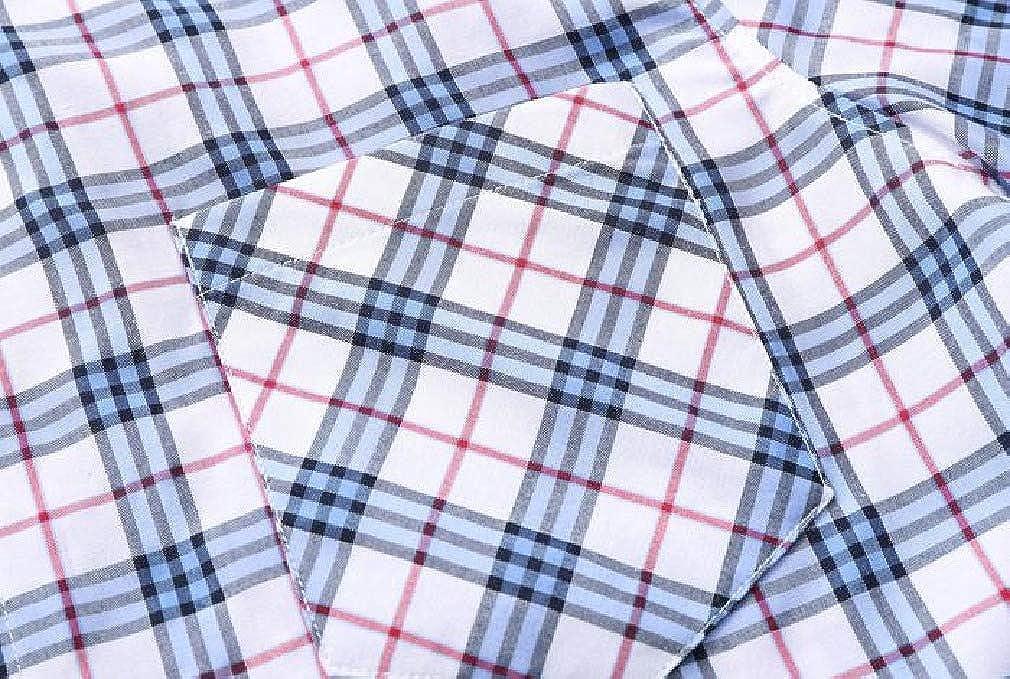 Zimaes-Men Short Sleeve Summer Plaid Plus-Size Silm Fit Dress Shirt