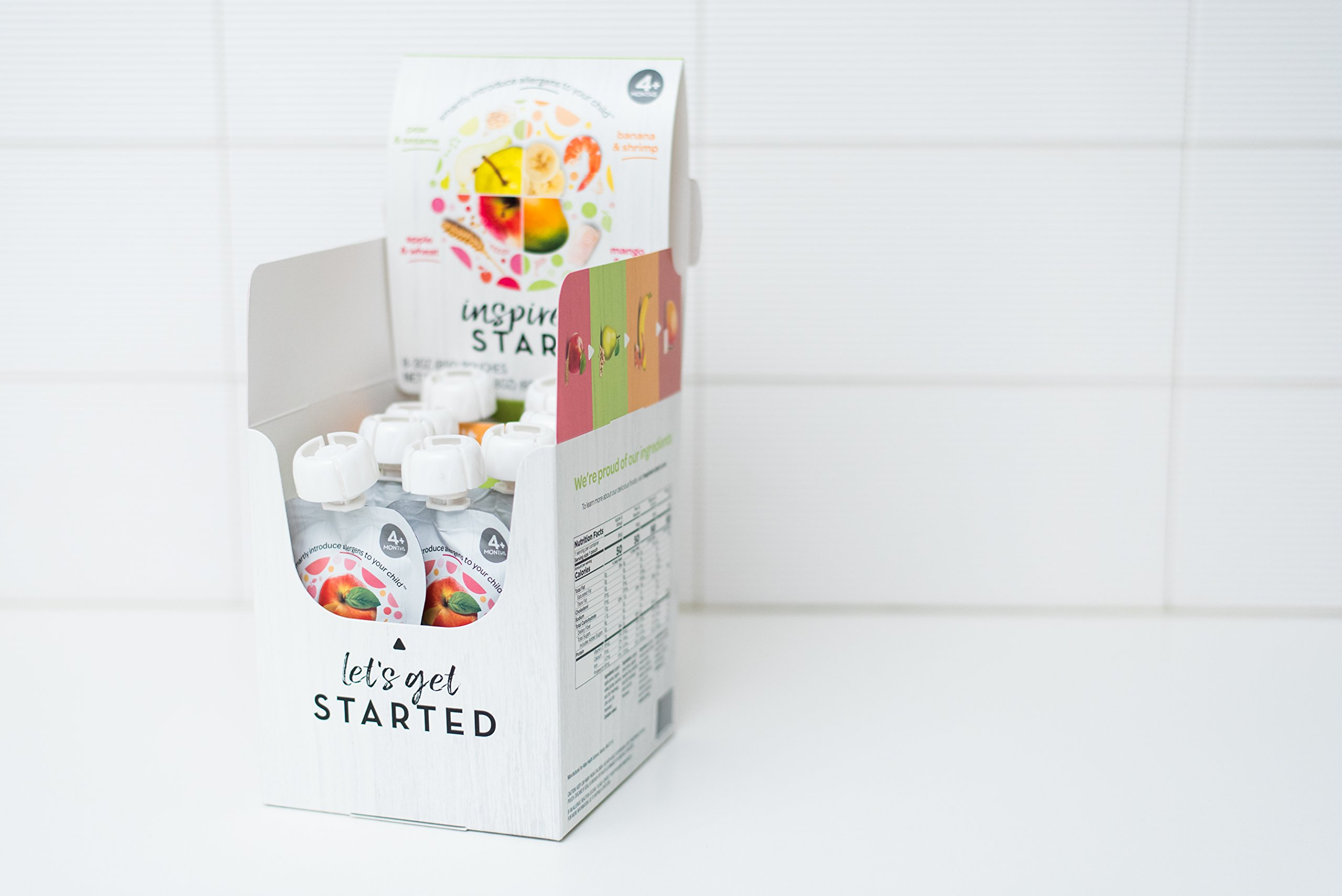 Early Allergen Introduction Baby Food: Inspired Start Pack 2, 3 oz. (Pack of 8 baby food pouches) - Non-GMO, include wheat, sesame, shrimp and cod in baby's diet by Inspired Start (Image #1)