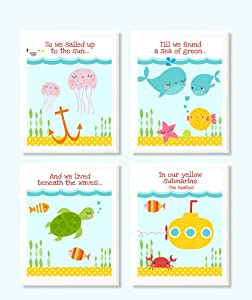 Silly Goose Gifts in Our Yellow Submarine Song Themed Ocean Wall Art Prints (Set of 4) Nursery Beatles