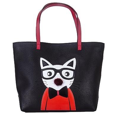 ... official photos 36017 9f468 Cat Tote Bag for Women Leather Handbag Cute  Crossbody Fashion Purse Shoulder ... 12c9c94acabde