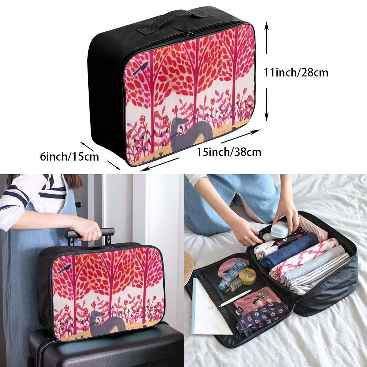 Avocado Pink Pattern Travel Duffel Bag Waterproof Foldable Bag Lightweight Convenient Large Capacity Portable Luggage Lever Bag