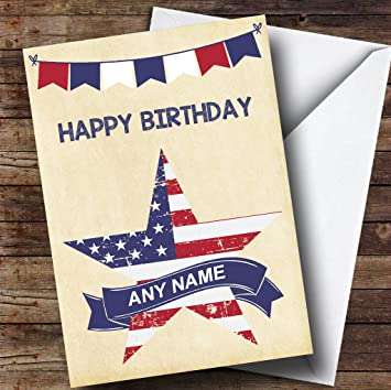 USA Flag Star Customised Birthday Greetings Card Amazoncouk Office Products