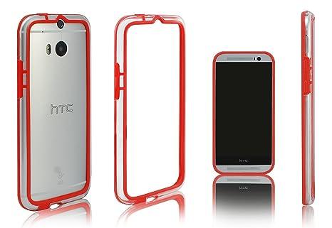 Xcessor Bumper Funda Carcasa de Parachoques Clásico para HTC One M8. Caucho y Plástico. Rojo/Transparente