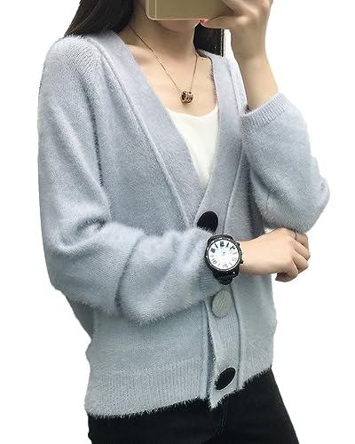 Minetom Mujer Calentar Cárdigan Otoño Invierno Prendas De Punto Moda Cuello En V Tops Manga Larga Abrigos