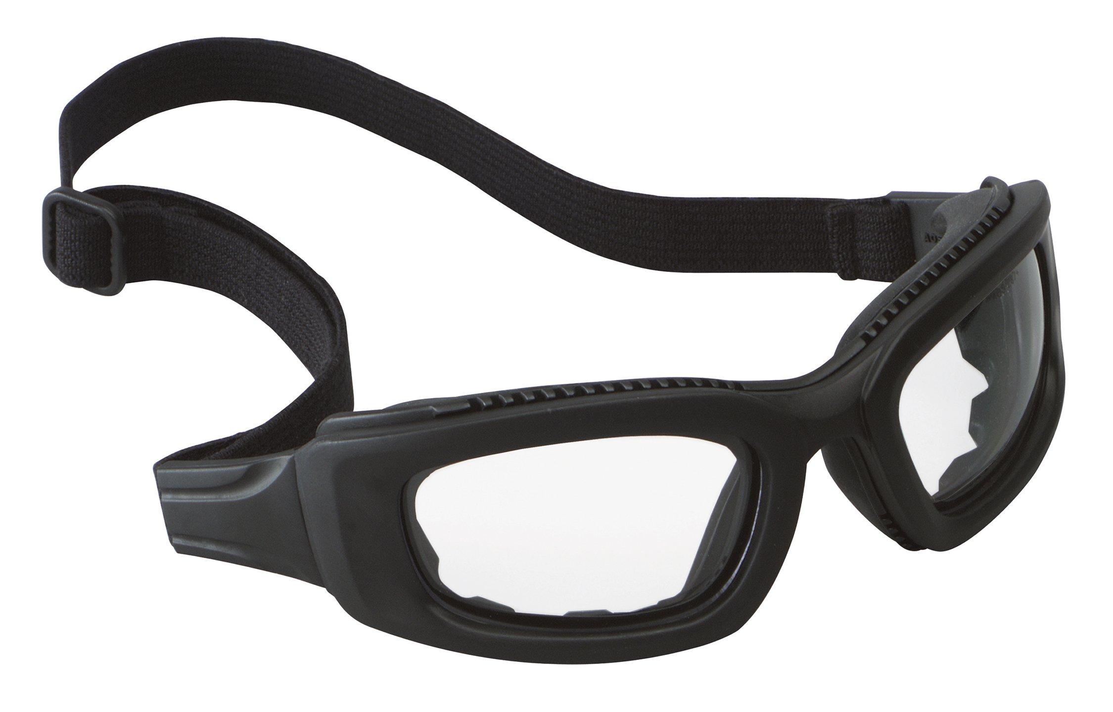 3M Maxim Safety Goggle 2x2, 40686-00000-10 Clear Anti-Fog Lens, Black Frame, Elastic Strap  (Pack of 1)