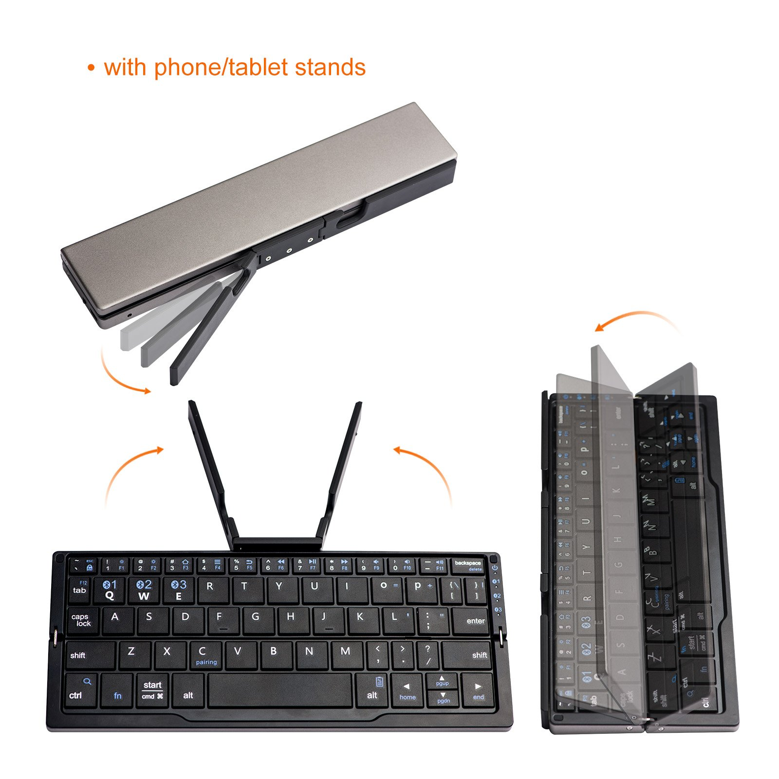 Pocket Size Bluetooth Keybaord, LinDon-Tech Rechargeable Portable Foldable Mini Wireless Keyboard with Stand for IOS Android Windows, Aluminum Alloy (Foldable with Stand)