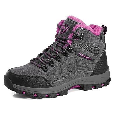 Damen Winter Freizeitschuhe Warm Gefütterte Boots Klettverschluss Winterstiefel Plateau Wander Sneakers Schuhe