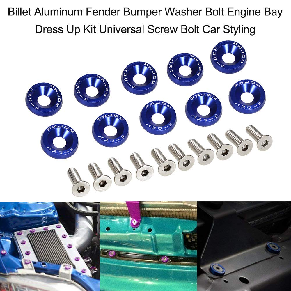 Billet Fender Aluminium Bumper Washer Bolt Engine Bay Dress Up Fastener Kit