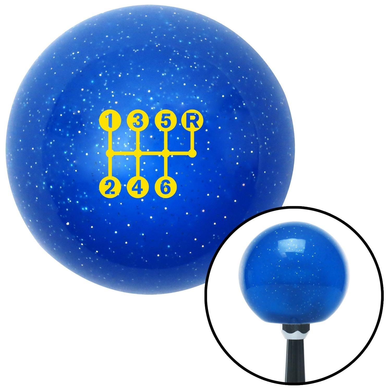 Yellow 6 Speed Shift Pattern - Dots 26n Blue Metal Flake with M16 x 1.5 Insert American Shifter 276751 Shift Knob
