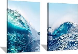 Wave Canvas Wall Art Prints: Ocean & Sea Picture Decor Artwork for Bath Rooms (24'' x 18'' x 2 pcs)