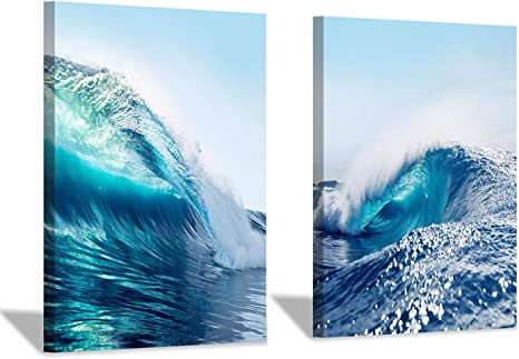 Amazon Com Wave Canvas Wall Art Prints Ocean Sea Picture Decor Artwork For Bath Rooms 24 X 18 X 2 Pcs Posters Prints