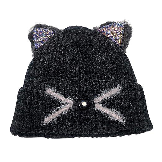1d38cb9b6dd Women Fashion Keep Warm Cat Ear Winter Hats Knitted Wool Hemming Hat ...