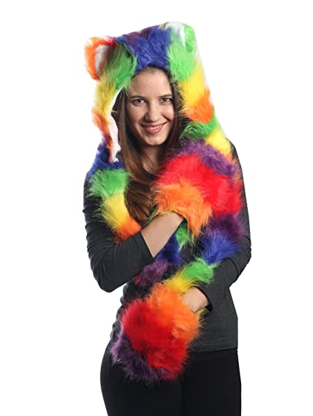 8d39186f Amazon.com: KayJayStyles Rainbow Full Animal Hood Hoodie Hat Faux Fur 3 in  1 Function Claws: Clothing