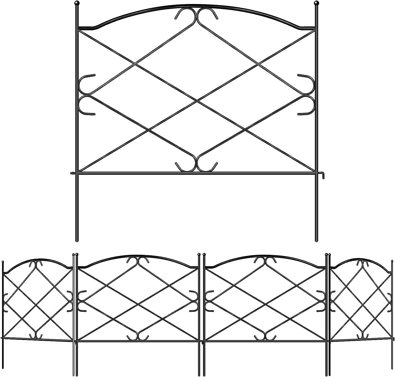 Gtongoko Decorative Garden Fence Rustproof and Waterproof Metal Folding Fencing Landscape Wire Patio Wire Border for Garden Flowers Animal Barrier Outdoor Fence 24in x 10ft Black 5 Pack