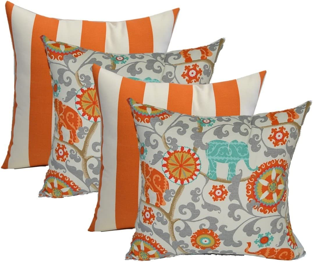 Resort Spa Home Decor Set of 4 – Indoor 17 Square Decorative Throw Toss Pillows – 2 Preppy Orange and White Stripe 2 Orange, Blue, Gray Grey Bohemian Elephant Menagerie Cayenne