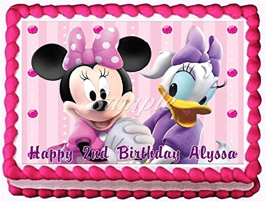 Super Amazon Com Minnie Mouse And Daisy Duck Edible Frosting Sheet Cake Funny Birthday Cards Online Amentibdeldamsfinfo