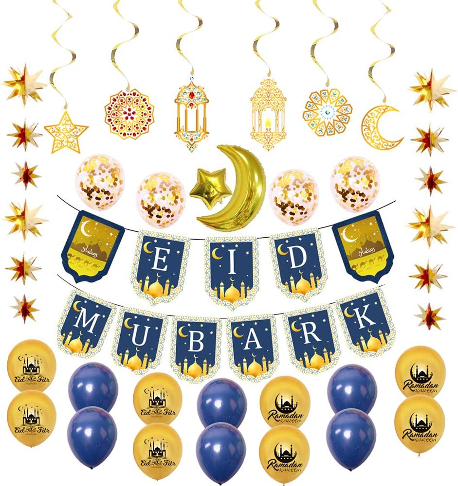 Ramadan Mubarak Party Decoration Supplies Eid Mubarak Banner Eid Mubarak Latex Balloons and Eid prety hanging decoration