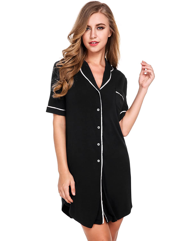 Avidlove Womens Short Sleeve Pajamas Top Luxury Boyfriend Sleepshirt Dress  Sleepwear at Amazon Women s Clothing store  f7fdd1b05