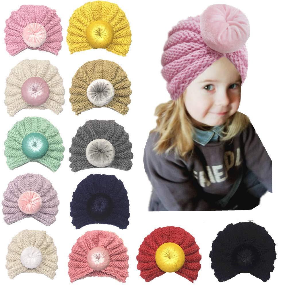 Amaping Cute Hoop Bound Newborn Baby Boy Girl Knitted Turban Hat Winter Warm Beanie Headwear Cap