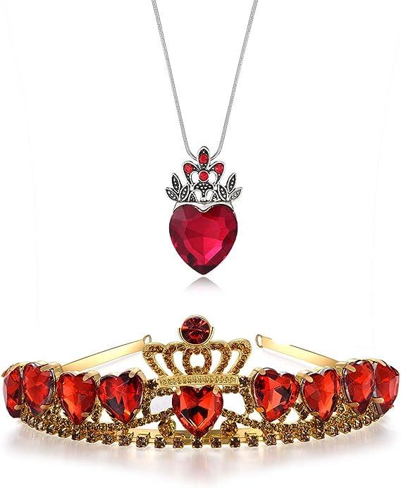 Kzslive Evie Diademe Et Collier En Forme De Cœur Rouge Avec Cœur Et Couronne Rouge Amazon Fr Vetements Et Accessoires