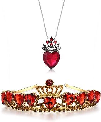 Kzslive Evie Tiara de corazón Rojo y Collar de los descendientes ...